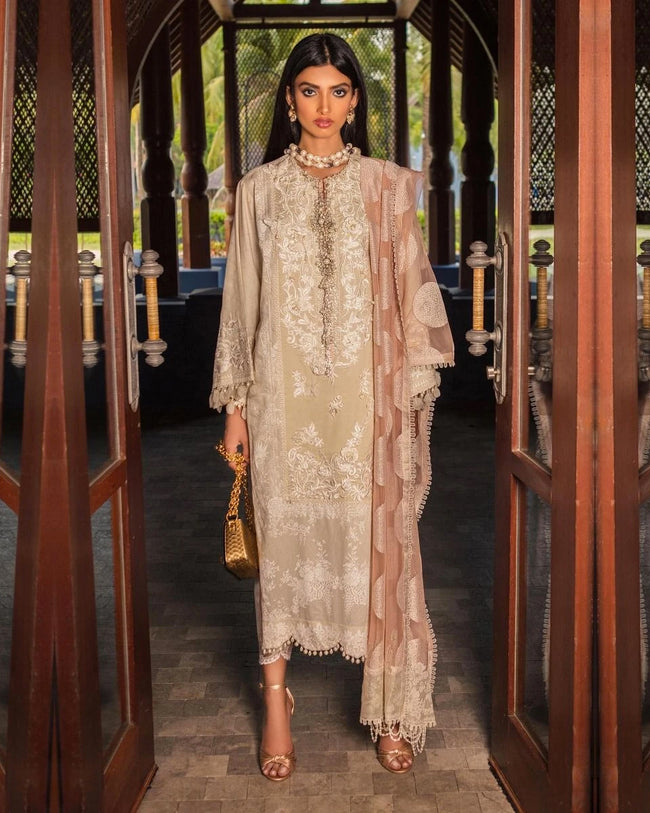 Beige Color Pure Cotton Printed Pakistani Embroidery Suit (Made in India)