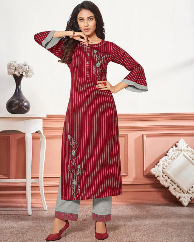 Maroon-Gray Color Lining Printed Cotton Stylish Pant Suits