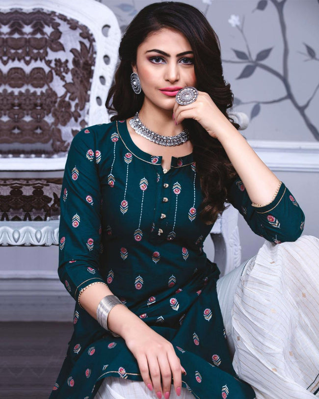 Teal Blue Color Party wear Fancy Cotton Sharara Suit