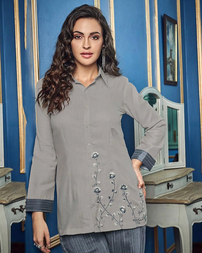 Gray Colored Casual Wear ReadyMade Palazzo Set