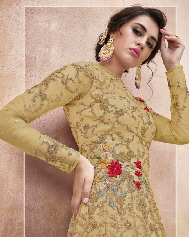 Lemon Yellow Color Wedding Wear Net Semi Stitched Anarkali Gown