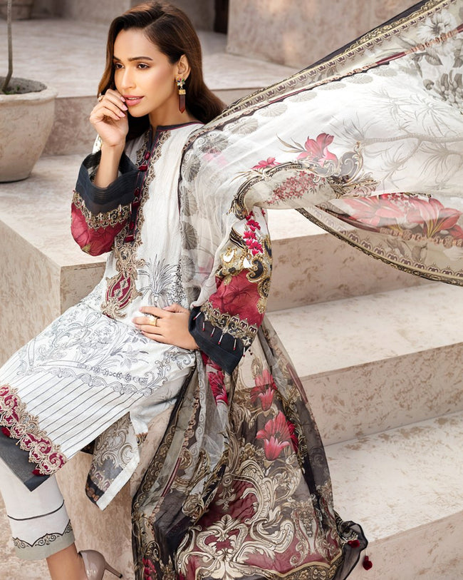 White Color Jam Silk Digital Print Lawn Pakistani Suits (Made in India)