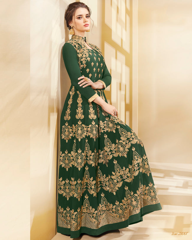 Green Colored Designer Semi-Stitched Party Wear Georgette Anarkali Suit