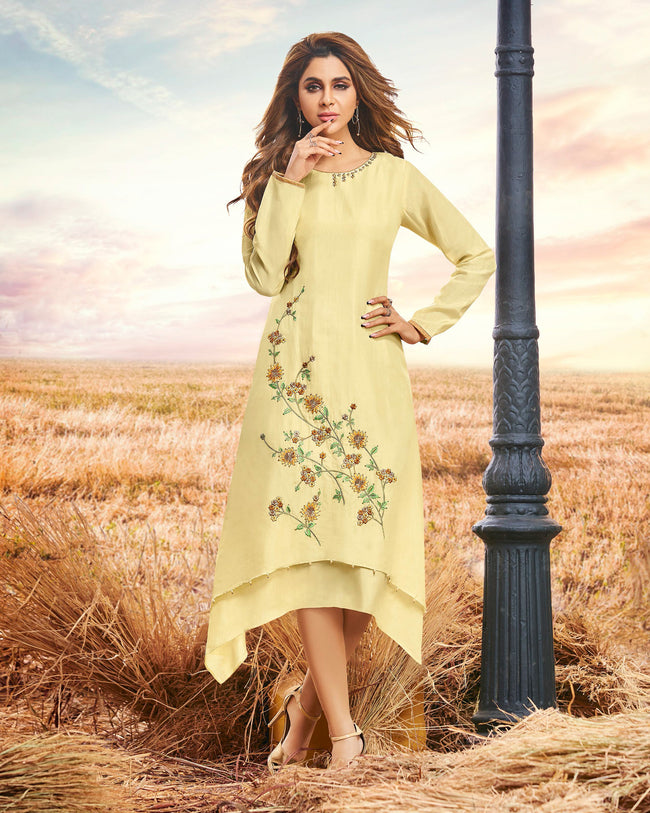 Light Yellow Color Boat Neck Readymade Embroidered Cotton Silk Kurti