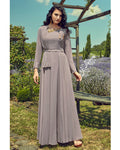 Dark Grey Colored Partywear Embroidered Georgette Gown