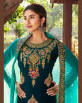 Radiant Teal Green Colored Party Wear Unstitched Sarara Suit