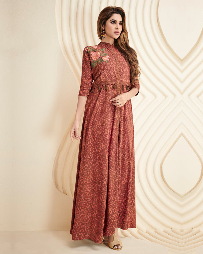 Brown Colored Partywear Printed Rayon Long Kurti
