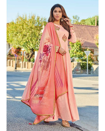 Peach Colored Partywear Embroidered Art Silk Gown With Muslin Silk Dupatta