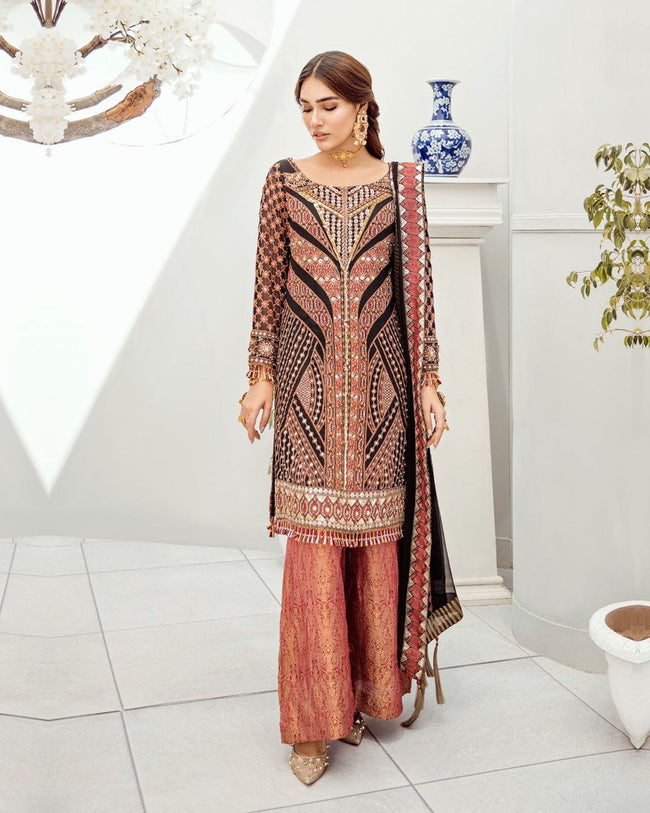 Beautiful Muti-Color Partywear Embellished Pakistani Dress Material Suit
