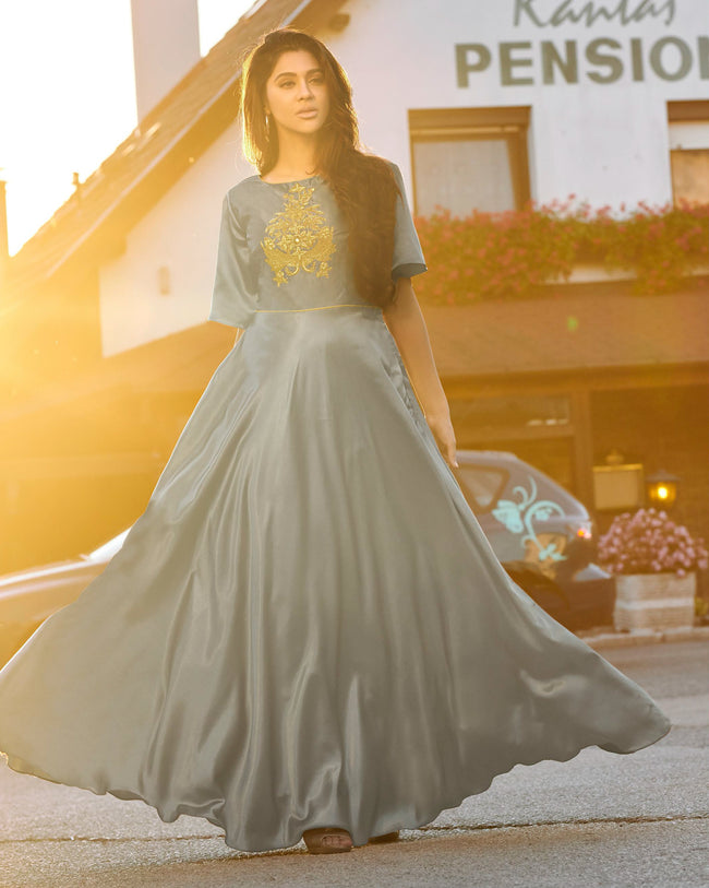 Gray Colored Party Wear Embroidered Tapeta Silk Gown
