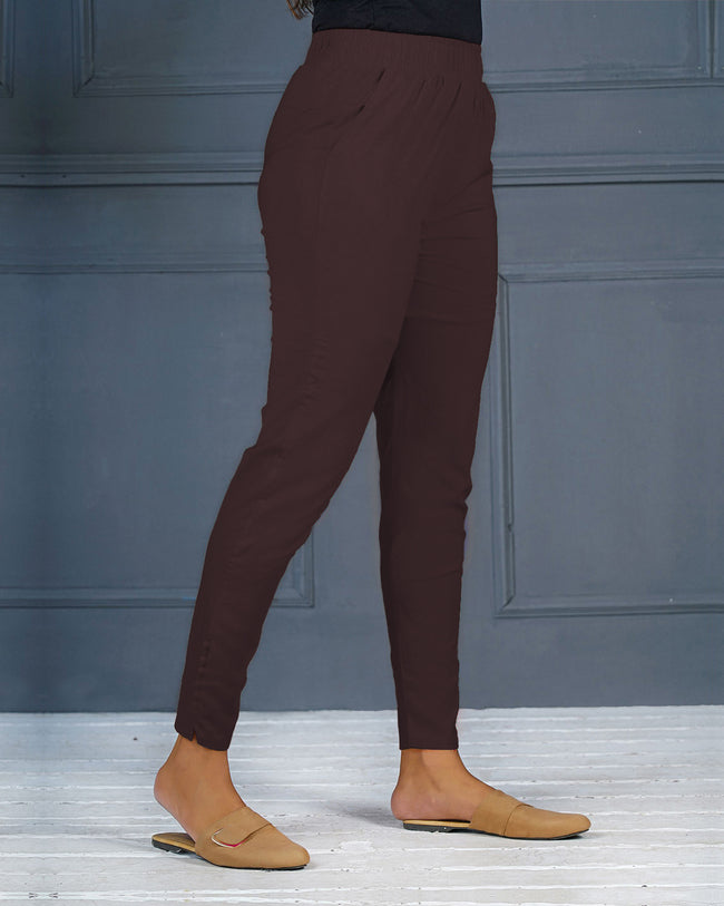 Chocolate Brown Solid Stretchable Narrow Fit Pant