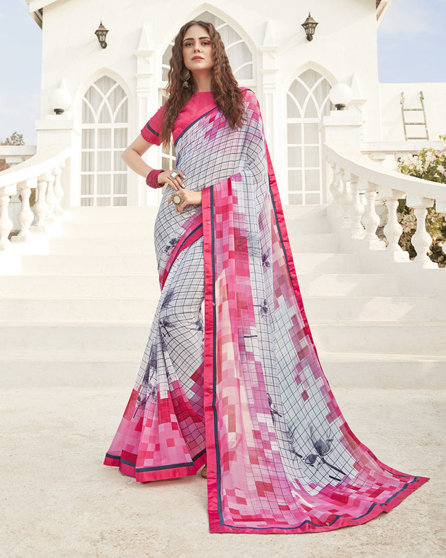Pink and Grey Color Pure Georgette Digital Printed Saree