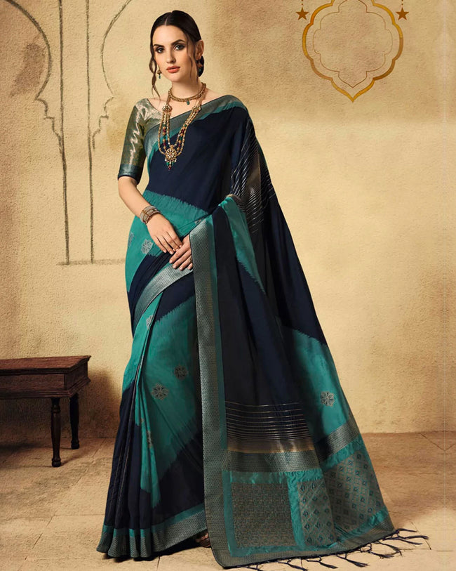 Black and Blue Color Party Wear Silk Jacquard Fancy Saree