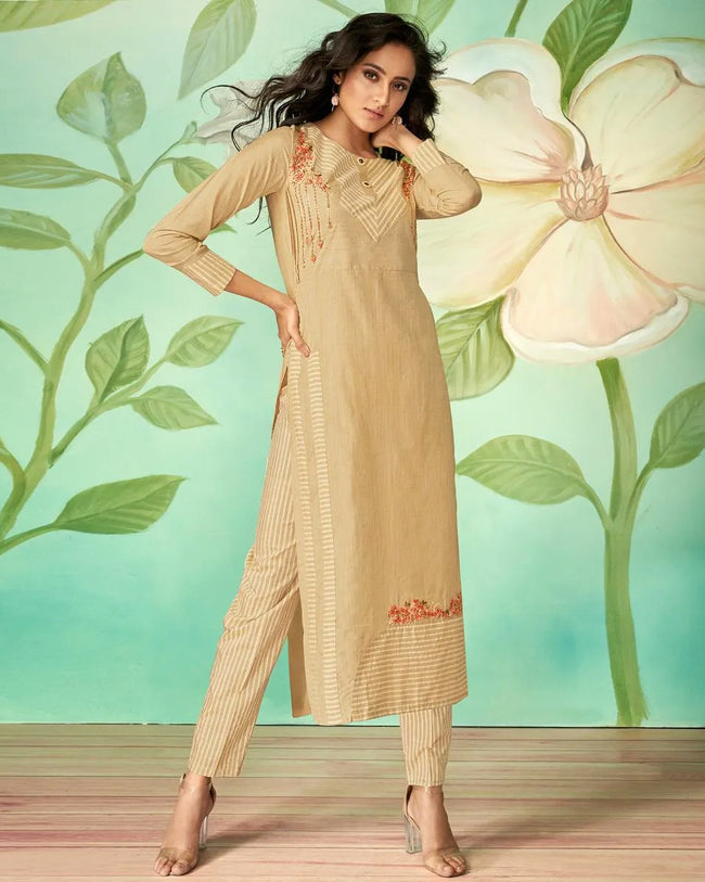 Yellow Color Casual Wear Cotton Silk Pant Style Suits
