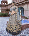 Gray Color Party Wear Silk Jacquard Lehenga Choli
