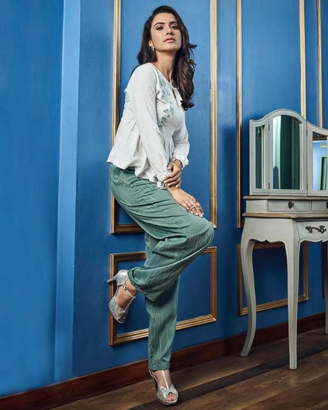 White-Green Colored Casual Wear ReadyMade Palazzo Set