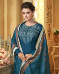 Teal Blue Colored Partywear Embroidered Muslin Palazzo Suit with  Digital Printed Dupatta