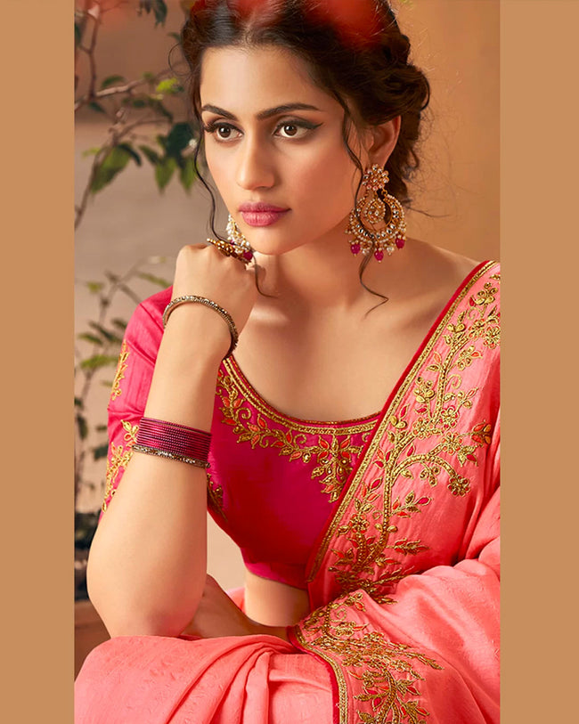 Pink Color Bridal Wear Pure Dola Silk Embroidery Work Saree