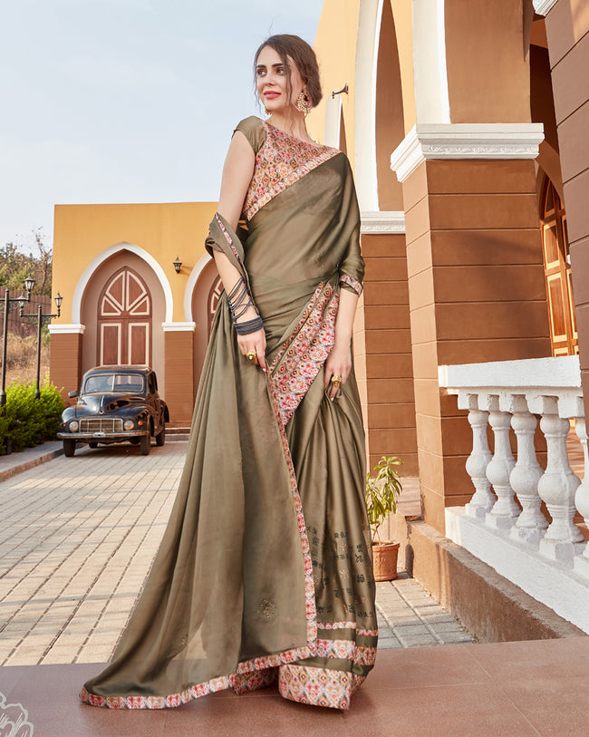 Mehendi Green Color Pure Georgette Designer Saree with Printed Blouse