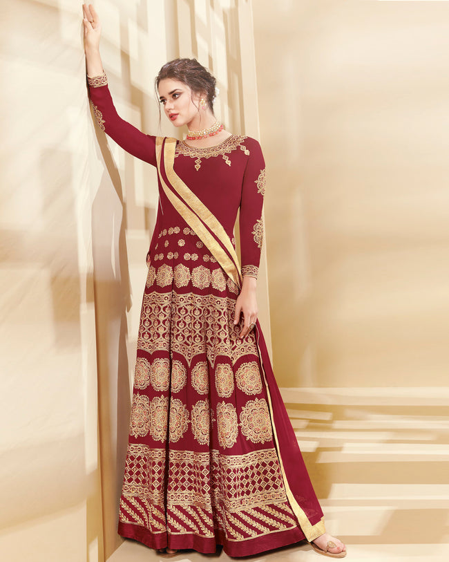 Maroon Colored Designer Semi-Stitched Party Wear Georgette Anarkali Suit