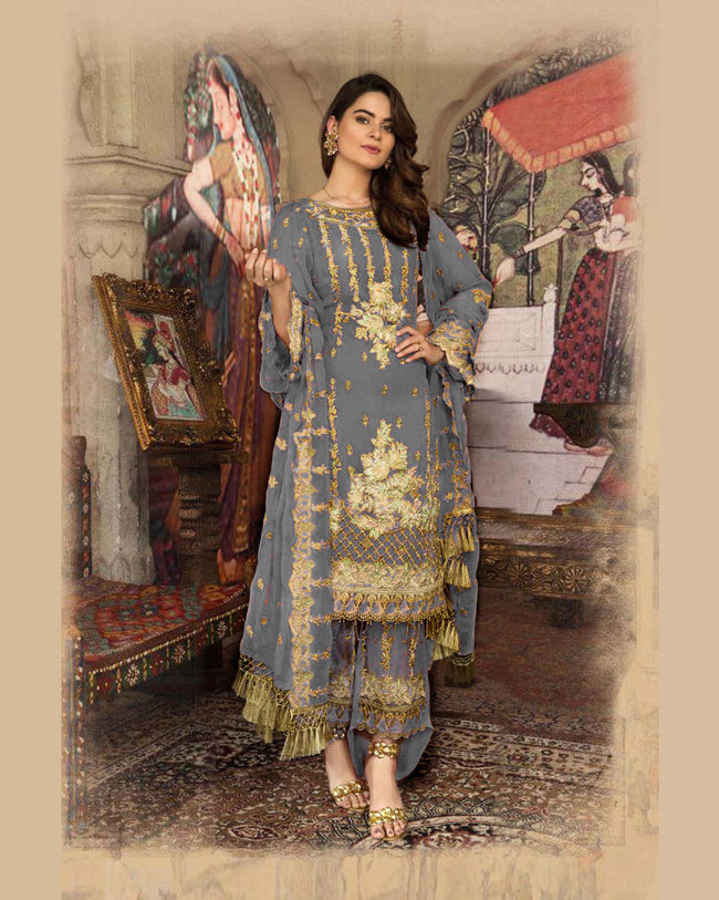 Grey Color Faux Georgette Unstitched Designer Pakistani Suits
