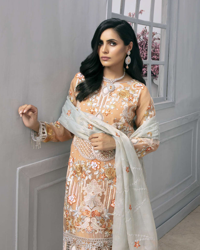 Gleaming Peach Color Georgette Unstitched Pakistani Suit
