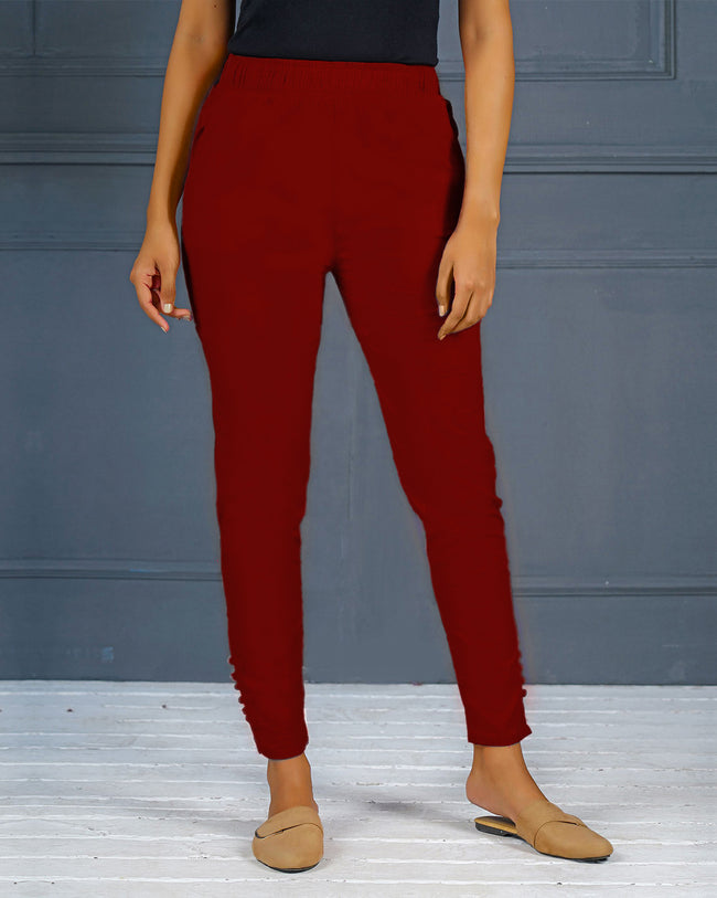 Marron Solid Stretchable Narrow Fit Pant