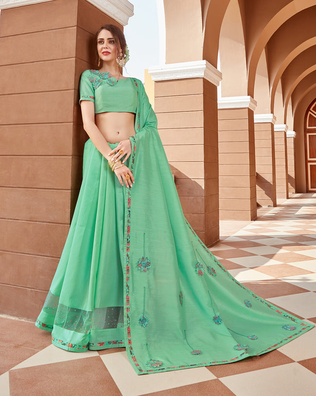 Majesty Sea Green Color Pure Georgette Designer Saree with Printed Blouse