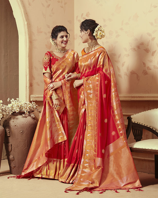 Red Color Bridal Wear Heavy Banarasi Silk Saree With Double Blouse