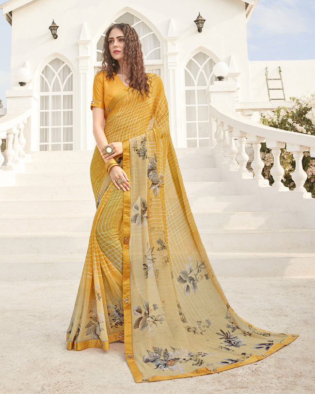 Yellow Color Pure Georgette Digital Printed Saree