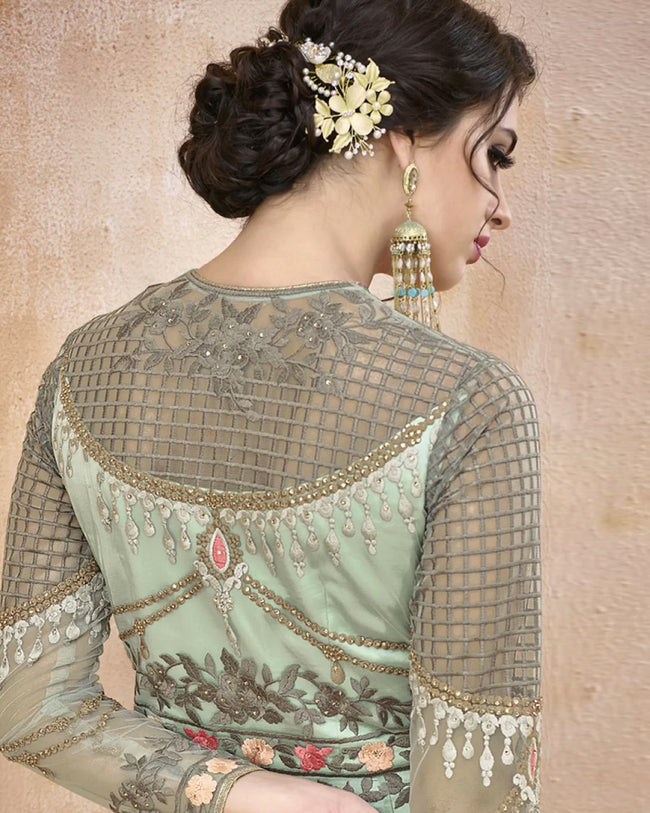 Green Color Bridal Wear Net Semi Stitched Anarkali Gown