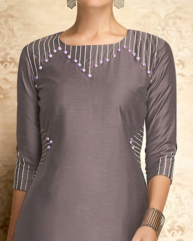 Grey Colored Partywear Embroidered Viscose Knee Length Kurti