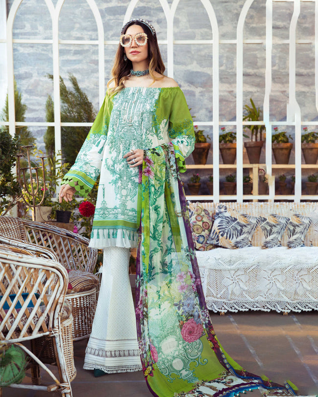 White and Green Color Unstitched Pure Cotton Printed Pakistani Salwar Kameez Suit