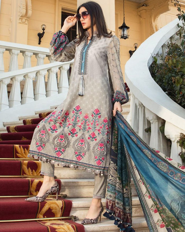 Eye-catching Gray Colored Pure Cotton Lawn Printed Suit