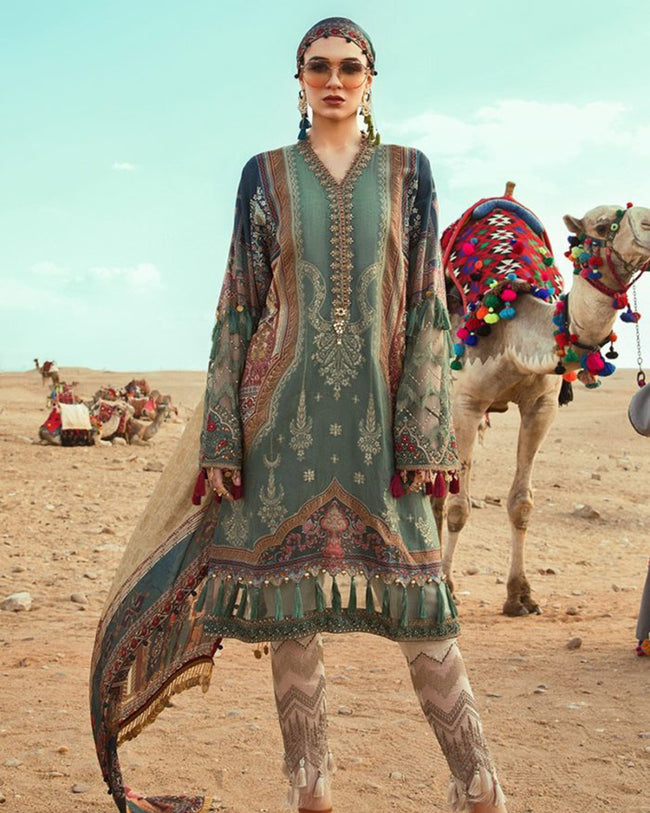 Energetic Bottle Green Colored Pure Cotton Lawn Printed Suit