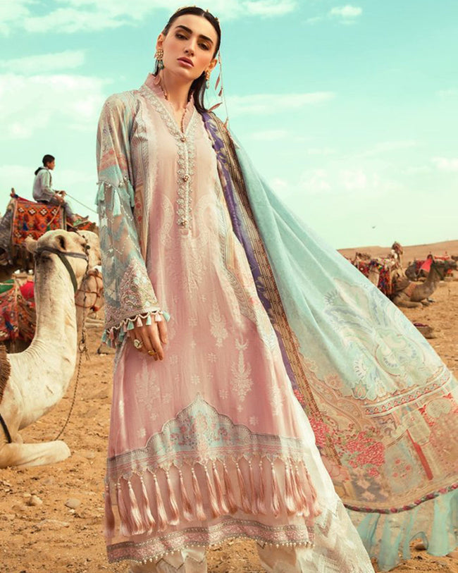Ravishing Pink Colored Pure Cotton Lawn Printed Suit