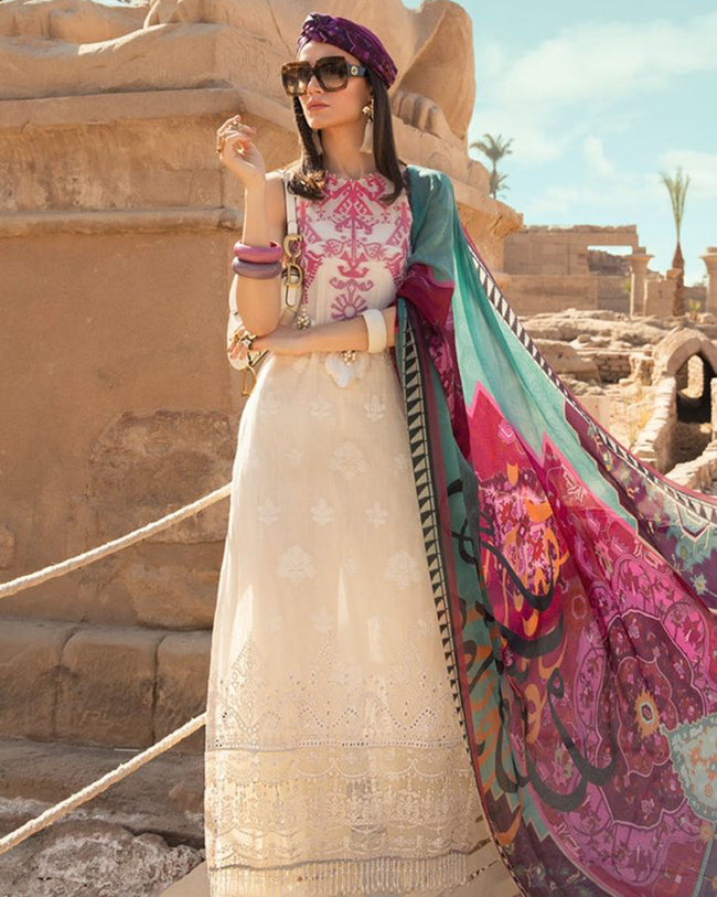 Imposing Off White Colored Pure Cotton Lawn Printed Suit