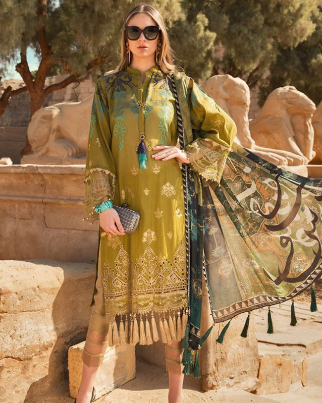 Arresting Green Colored Lawn Cotton Dress Material Suit