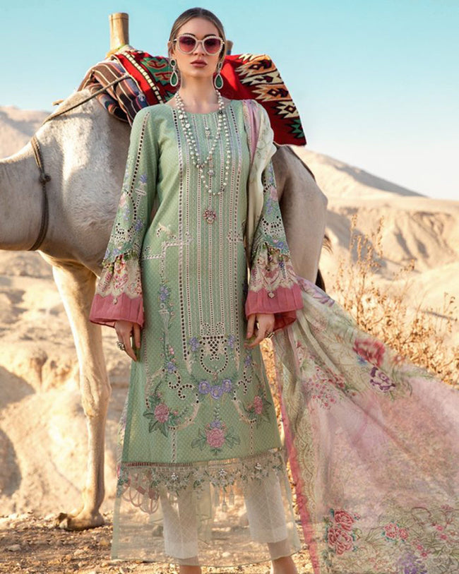 Sophisticated Sea Green Colored Pure Cotton Lawn Printed Suit