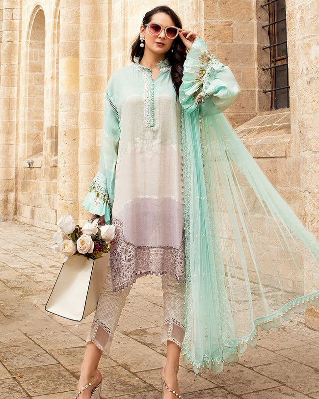 EId Collection 2021 Green and Purple Color Unstitched Pakistani Lawn Cotton Printed Pant Suit Dress Material