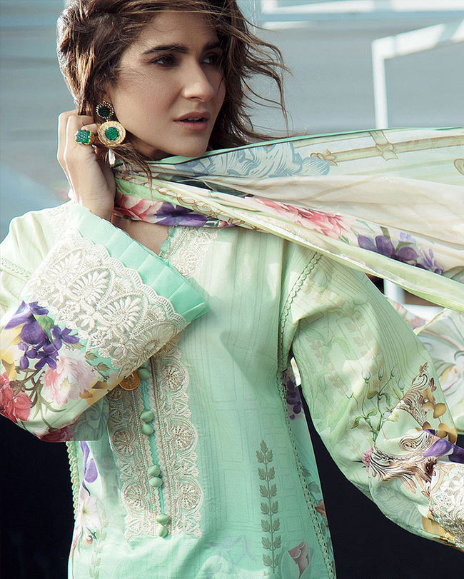 Classy Sea Green Color Lawn Collection Dress Material Suit