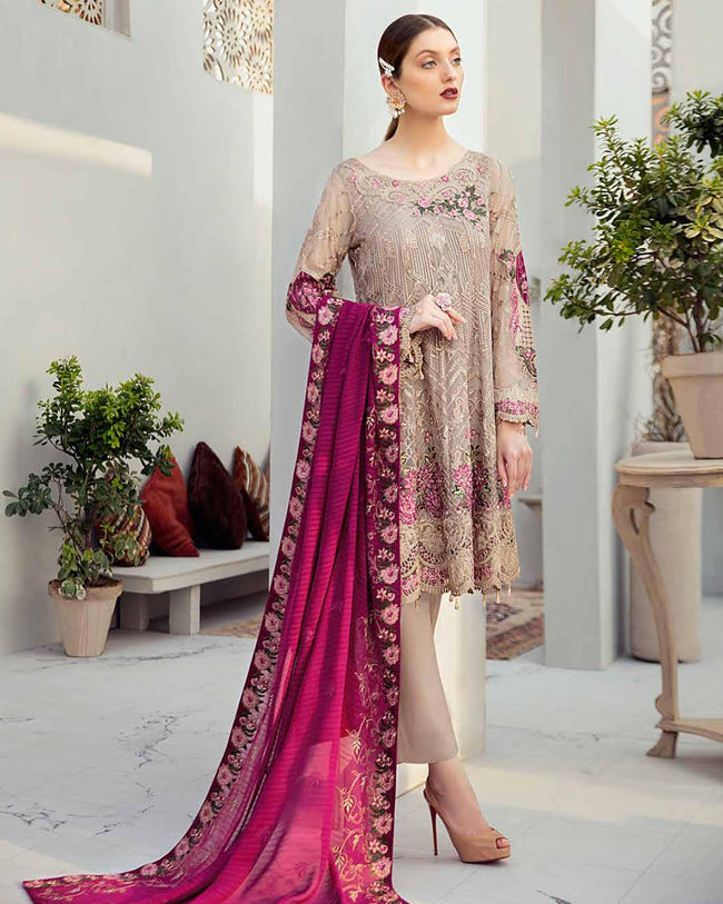 Beige Unstitched Party Wear Heavy Pakistani Pant Style Suits With Purple Dupatta