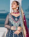Navy Blue Unstitched Bridal Wear Heavy Pakistani Lehenga Style Suits