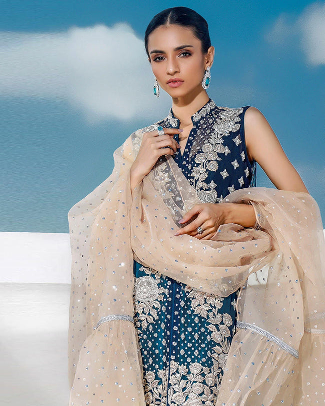 Navy Blue Color Unstitched Pakistani Pants Style Suits with Beige NET Dupatta