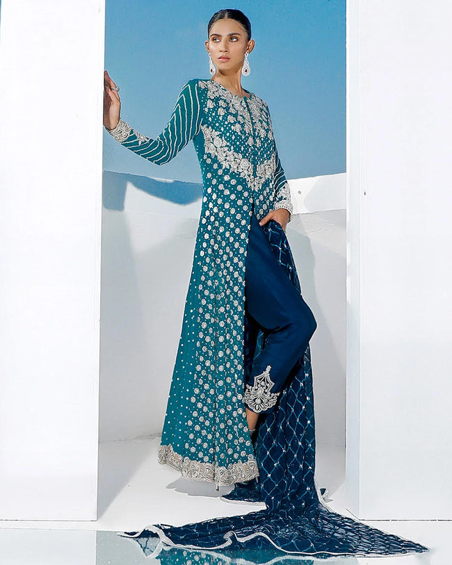 Blue Unstitched Traditional Wear Heavy Pakistani Pant Style Suits