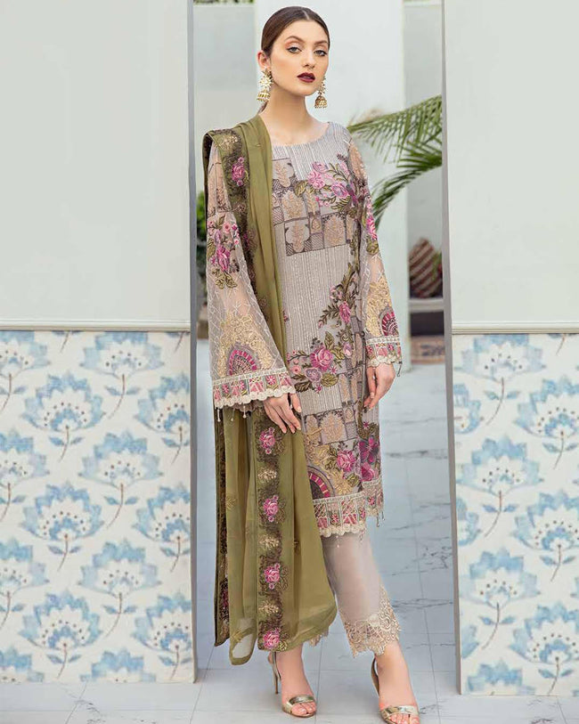 Beige Color Unstitched Pakistani Pant Style Suits With Green Dupatta