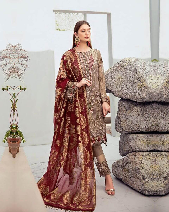 Brown Unstitched Pakistani Pant Style Suits With Maroon Banarsi Dupatta