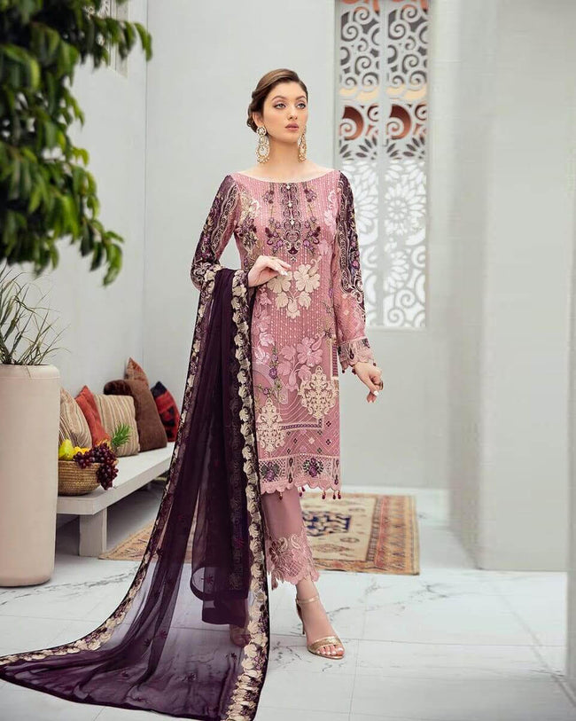 Pink Unstitched Pakistani Pant Style Suits With Purple Dupatta