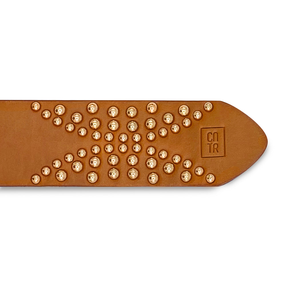 Tan with Gold Studs
