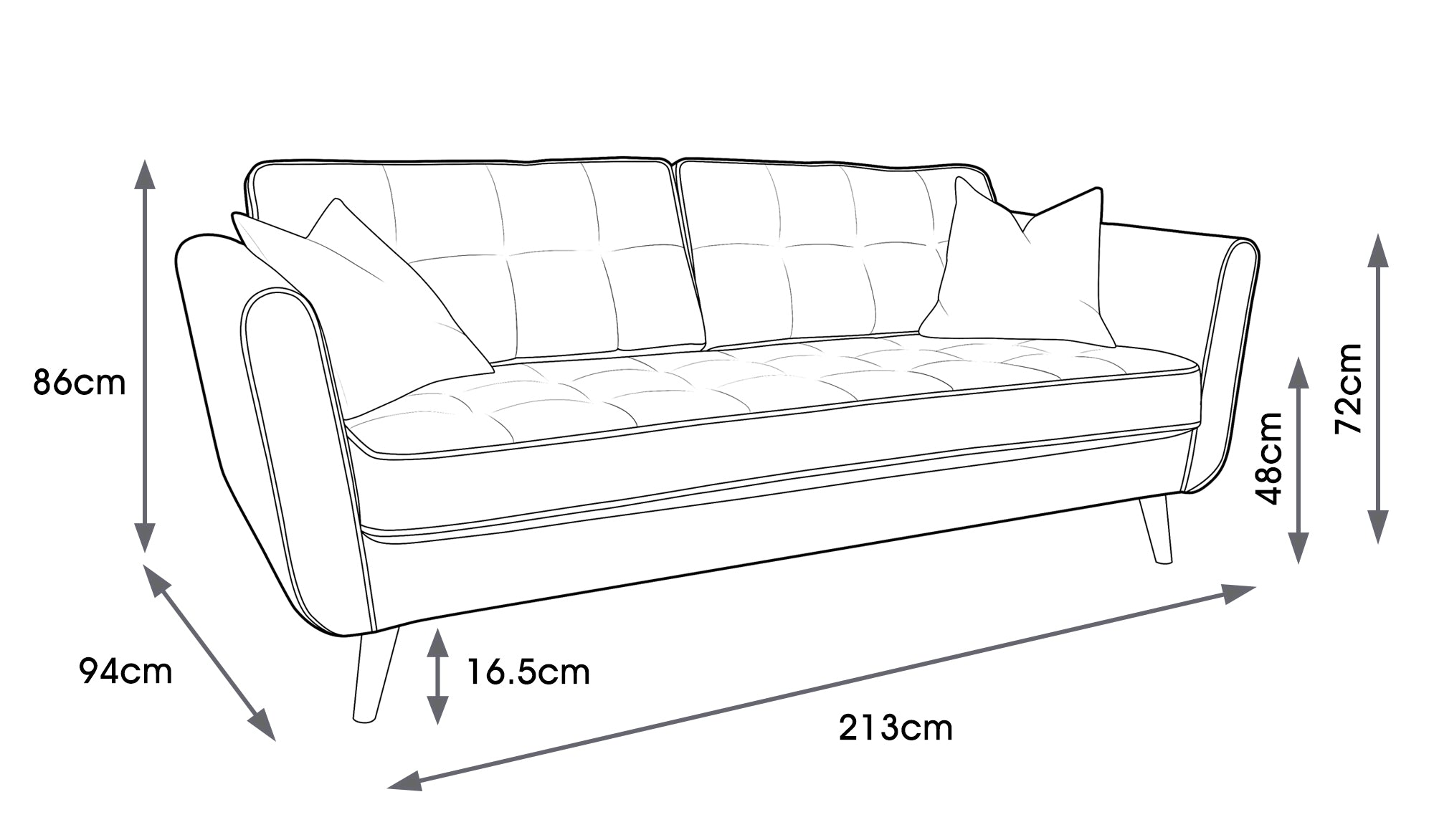 Ivy Fabric Large Sofa